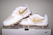 Women's size 10 NEW Nike Golf WMNS SP-3.5 Lite White Golf Shoes with Gold Trim
