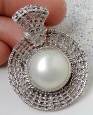 Mabe Pearl Solid Silver, 925 Balinese Woven Design Pendant 25948