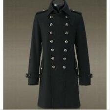 D4 Men Overcoat Jacket Wool Outerwear Military Double Breasted Trench Long Coat