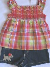 Gymboree Pretty Posies Outfit 18-24 mo New Plaid Top Shirt Denim Jean Shorts