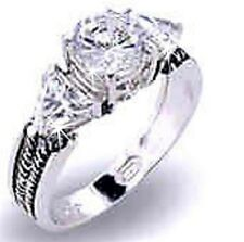 Trilliant Round 3-Stone Cz Cubic Zirconia Anniversary Engagement Ring Sterling
