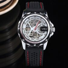 Mens Auto Automatic Mechanical Date Leather Wrist Watch