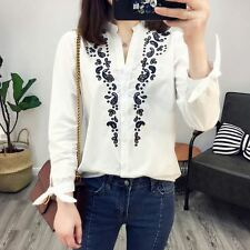 New Womens White/Blue Long Sleeve Stand Collar Button Down Shirt Blouse Tops