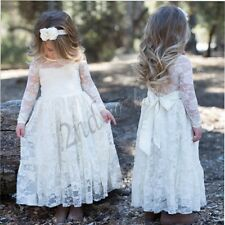 Lace Flower Girl Dress Pageant Party Princess Bridesmaid Wedding Dresses 3-10T