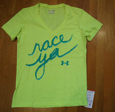NWT UNDER ARMOUR SHIRT CHARGED COTTON FITTED V-NECK YELLOW RACE YA WOMENS MEDIUM