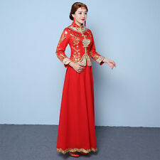 Bride dress Chinese wedding dress cheongsam dragon and phoenix gown  HS51