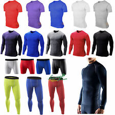 HOT Mens Gym Skin Tights Compression Base Under Layer Fitness Pants Shirt Shorts