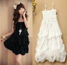 Japan Lolita Kawaii Cute Sweet Dolly princess Lace Chiffon strapless Nana dress@