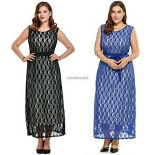Women Plus Sizes Round Neck Sleeveless High Waist Belted Floral Lace Maxi N4U8