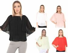 Womens Ladies Cape Grecian Sleeve Top Front Pleated Shirt Chiffon Blouse