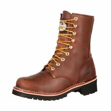 "Georgia Boot Work Mens 8"" Logger Leather Steel Shank Brown GB00048"