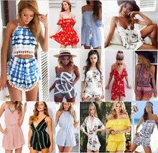 Womens Holiday Mini Playsuit Jumpsuit Romper Summer Beach Wear Dress Size 6-20