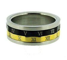 Gold and Black Tone Roman Numerals Stainless Steel Spin Ring 7, 8