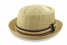 Scala Porkpie Straw Hat Raffia Fedora Trilby Stingy Brim M L XL New Mens