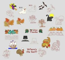 Fall Holidays Machine Embroidery Designs + Redwork CD-by Anemone Embroidery