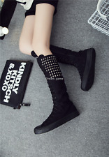 New Punk Motorcycle Women Rivet Gothic Boot Girls Shoe Knee High Zip Riding Boot