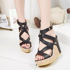 Women's Fashion Sandals High Wedge Heel Platform Open Toe Ankle Strap Shoes Size