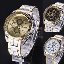 Quartz Analog Wrist Watch Stainless Steel Band Men's Sports Watches 3 Color N4U8