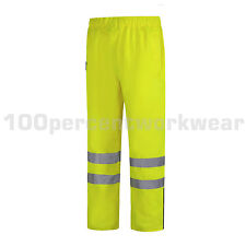 Aqua Yellow High Visibility Waterproof Breathable Over Trousers Pants Hi Viz Vis