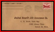 1952 US BELLFLOWER AUG 25TH AIR MAIL WAVY CANCEL TO DETROIT MI Cover