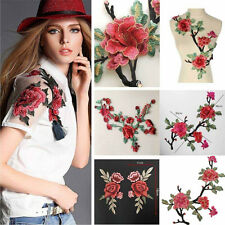Rose Flower Embroidered Floral Applique Badge Collar Sew Patch Bust Dress Craft