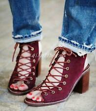 Roman Womens Lace Up Peep Toes Block High Heel Ankle Boots Casual Shoes Sandals