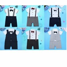 Baby Boys Romper Suit Christening Wedding Jumpsuit Kids Gentleman Tuxedo Outfit