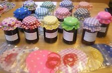 jam covers gingham fabric 10 colours avalible FREE BANDS & JAR LABELS X 20