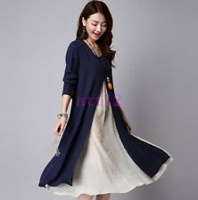 Spring Hot Womens Dress Layered Comfort Long Sleeve Cotton&Jute New Casual Korea