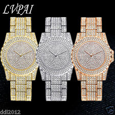 LVPAI Luxury Women's Crystal Dress Quartz Gold Stainless Steel Dress Wrist Watch