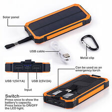 30000mAh Portable Solar Charger Dual USB Battery Power Bank For iPhone Samsung