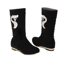New AU All Size Faux Suede Low Heel Shoes Mid Calf High Chain Women Boots s888