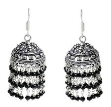 Black Onyx Gemstone Faceted Bead Jhumki In .925 Sterling Silver Overlay Metal