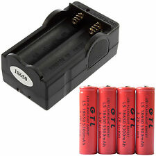 4pcs GTL 18650 3.7V 5300mAh Li-ion Rechargeable Battery Cell Red + 18650 Charger