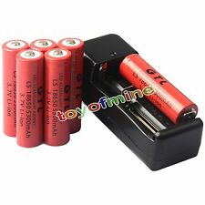 6x 3.7V 18650 GTL Li-ion 5300mAh Rechargeable Battery +Universal Charger