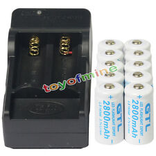 10 CR123 16340 GTL 3.7V 2800mAH Li-ion Rechargeable Battery Cell + Smart Charger