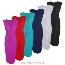 Womens Ladies Midi Bodycon Party V Neck Sleeveless Ruched Waist Knot Dress