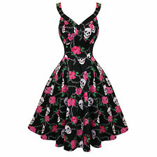 Hearts and Roses London Black Floral Rockabilly Skull Vintage Swing Party Dress