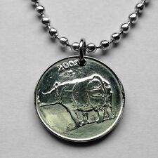 India 25 paise coin pendant Indian RHINOCEROS necklace one horned rhino n001649
