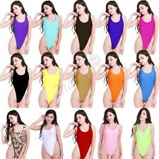 Womens One-Piece High Cut Swimsuit Thongs Bikini Leotard Bodysuit Dance Swim