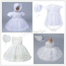 Baby Girl 2PCS Set Long Sleeves Christening Baptism Gown Lace Dresses Size 0-2Y
