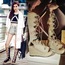 Gladiator Hot Womens Lace Up Knee High Sandal Boot Wedge Heel Open Toe New Shoes