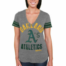 Oakland Athletics Women's Team Captain Tri-Blend V-Neck T-Shirt - Gray - MLB