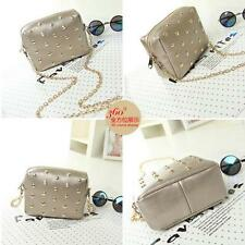 New Punk Rivet Women's Handbag Shoulder Bag PU Leather Chain Bag Elegant