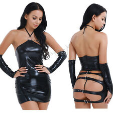 Sexy PVC Faux Leather Women Dress G-string Jumpsuit Gloves Lingerie Set Costumes