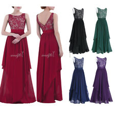 Women Lace Floral Long Evening Party Formal Bridesmaid Cocktail Prom Gown Dress