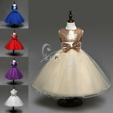 Pageant Flower Girls Kids Birthday Princess Wedding Bridesmaid Gown Formal Dress