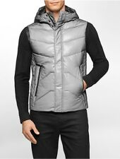 calvin klein mens ck one mesh bonded hooded puffer vest jacket
