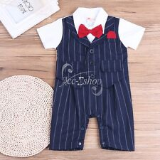 Gentleman Toddler Baby Boys Short Sleeve Bodysuit Bow-Tie Romper Clothes 6-24M