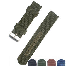 18/20/22/24mm Buckle Solid black or Brown Nylon Watch Strap Band Watchband Army